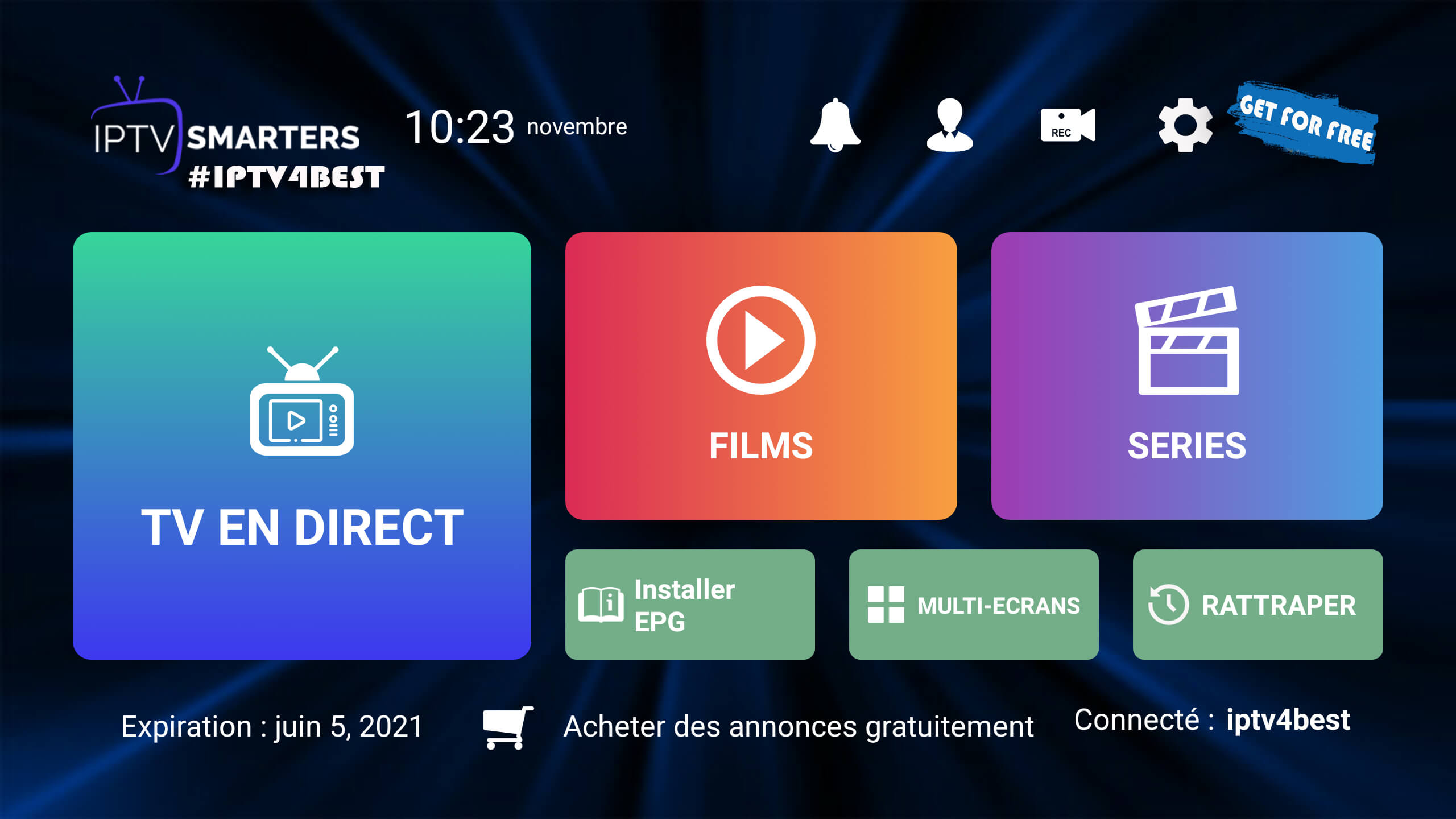 IPTv Smarters Pro APK + Code Activation Expire 2021 By IPTV4BEST